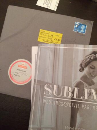 Hotel Du Vin: Requested wedding brochure.... Made us pay postage......... Expected luxury. I know where I'm no