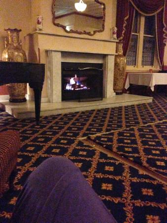 The Carrington Dining Room: A warm fireplace in Winter