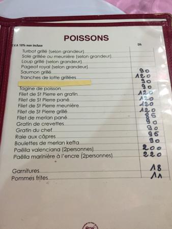 Restaurant du Port de Peche: Menu et prix du restaurant