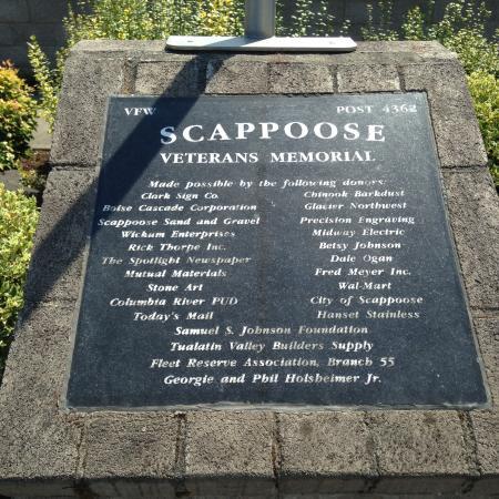 Scappoose, OR: Dedication plaque #2