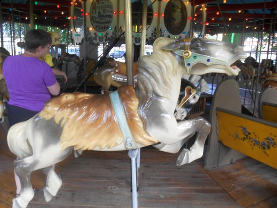Endwell, Нью-Йорк: A horse with a lion skin for a saddle on the Highland Park carousel