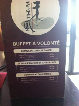Brumath, France : Tarif du buffet