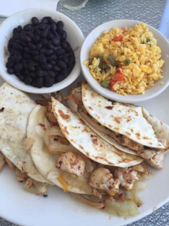 Majestic Diner: Chicken Quesadilla with Black Beans and Rice with Vegetables.