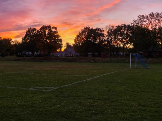 Wethersfield, CT: Sunset over soccer field