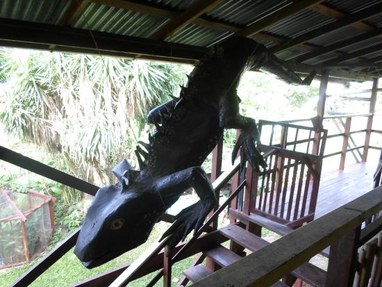 Iguana Research & Breeding Station : A large sculpture of an utila iguana, originally used for carnival