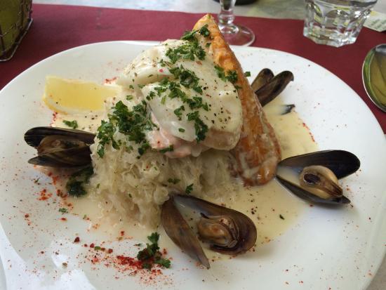 Rillettes de saumon / oeuf cocotte au camembert / choucroute de la mer ...