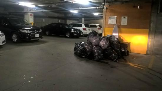 Lord Berri: Tas de poubelle génant pour les place de parking prise de la photo et sale !