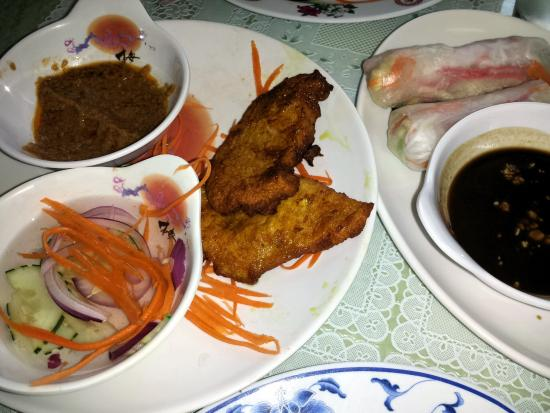 Charleston, IL: Chicken Satay and Spring Rolls