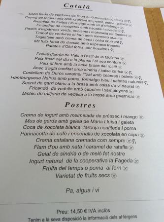 Olot, İspanya: Menú de mediodía