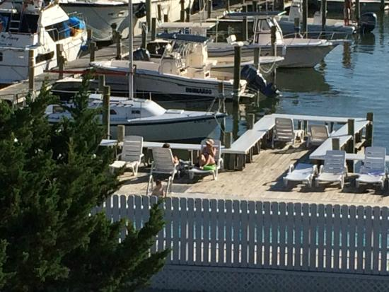 The Anchorage Inn: From 4th floor balcony towards pool & marina