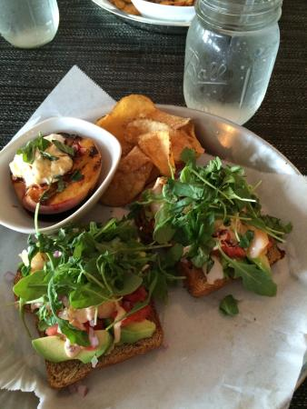 Cyd's Gourmet Kitchen: Delicious Special Avocado/Shrimp on Toast/w broiled peach.