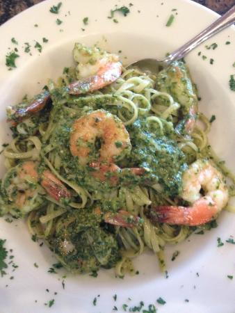 shrimp with pesto over linguini picture of amante