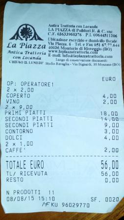 Rioveggio, Italie : Il conto