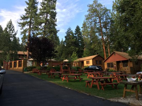Tahoe Vista, CA: common area - picnic benches, wooden swing, grills, etc.