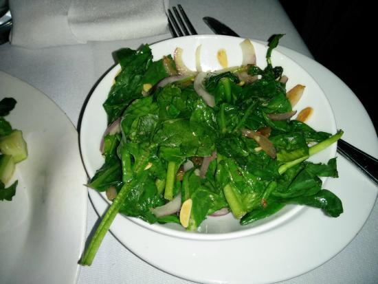 Lark Creek: sauteed spinach with sultanas and almonds