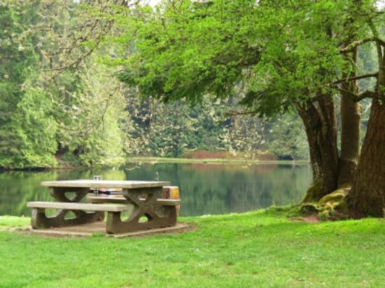 Nanaimo, Kanada: Picnic table in the lower dam area