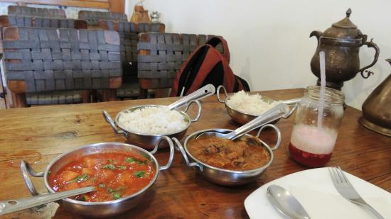 MoonPeak Thali: Watermelon curry, apricot chicken and hibiscus ice tea