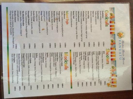 Breakas Beach Resort Vanuatu: drink menu