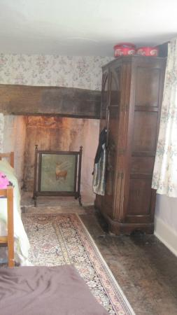 Musbury, UK: ancient fireplace in family room