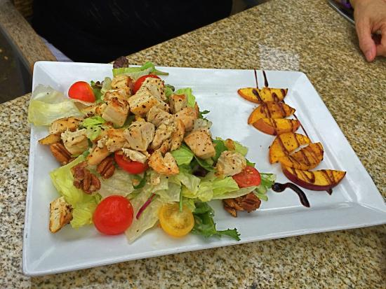 Bar Louie: Chicken Salad with side of Balsamic Peaches