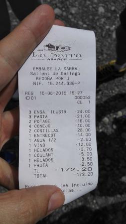 Formigal, Spain: ticket de comida