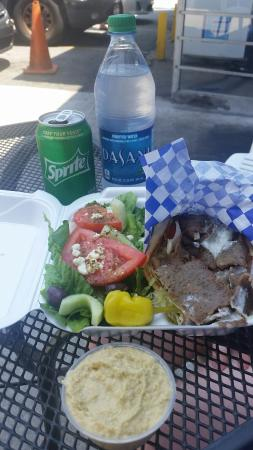 Gyro King: Amazing gyro, salad, and side of amazing hummus