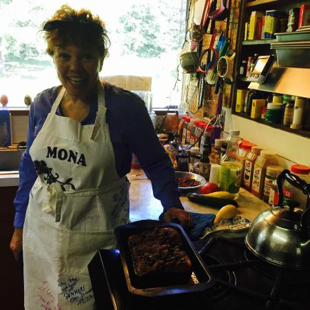 Berkshire Mountain House: Host & Chef Mona - with one of her signature dishes hot from the oven: Blueberry French Toast/Pe