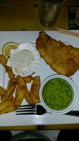 """Turnditch, UK: Fish & chips, and """"smooshed"""" peas - a first for me. Delish!"""