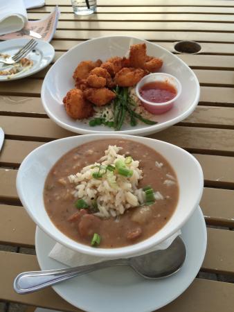 Ginny Lane Bar & Grill: Oyster sampler, coconut shrimp & gumbo