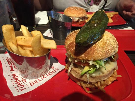 Burning love burger added onion strings and avocado - Picture of ...