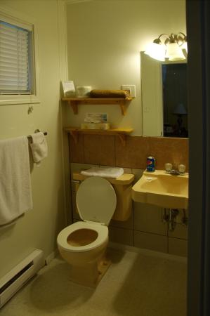 small 4 piece bathroom very old plumbing fixtures