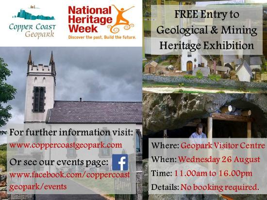 Copper Coast Geopark Visitor Centre : FREE entry to our geological and mining heritage exhibition on Wednesday 26 August 2015