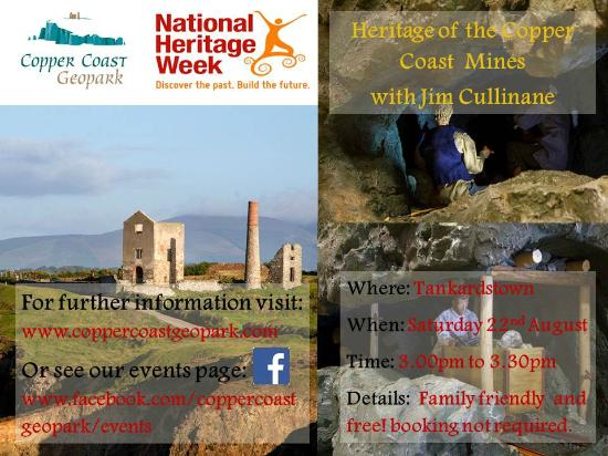 Copper Coast Geopark Visitor Centre: Talk at Tankardstown with Jim Cullinan on Copper Miners Saturday 22 August 2015