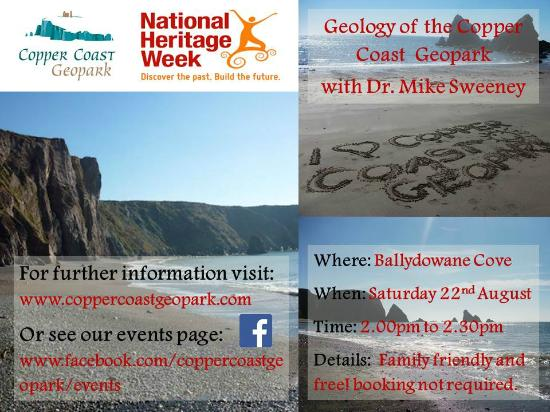 Copper Coast Geopark Visitor Centre: Informal talk on Geology of the Copper Coast Geopark with Dr Mike Sweeney on Saturday 22 August