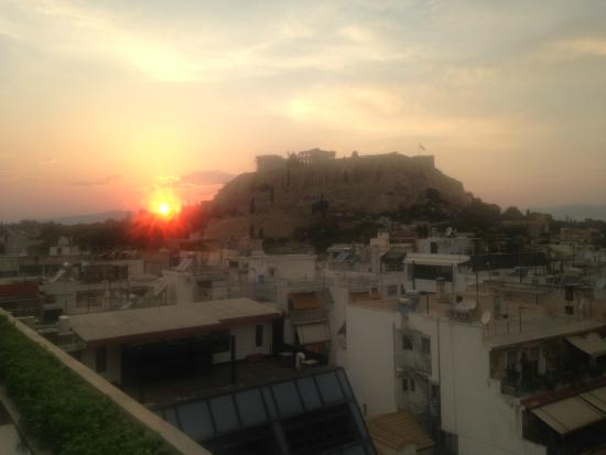 The Athens Gate Hotel: view to Acropolis from roof restaurant