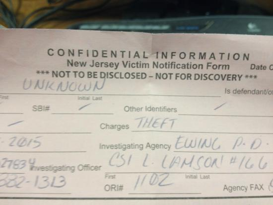 Ewing, NJ: police report