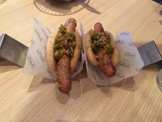 Salza Steakhouse: Grilled lamb hot dogs