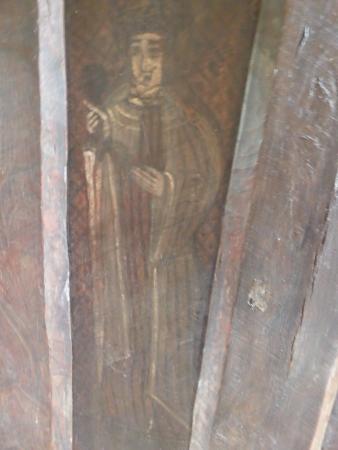 14th C paintedoak screen originally from Devon but now in the church at Llangua