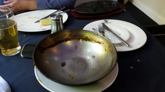 Sangam 1: Favourite balti...chicken ,spinach,mushroom medium hot with extra coriander. Before and after.