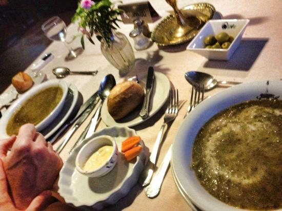 Le Castel: The bread was nice and hot. The soup was a little bland but good