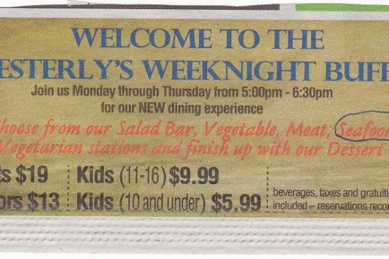 Westerly Restaurant: Weekly Buffet ad for Westerly