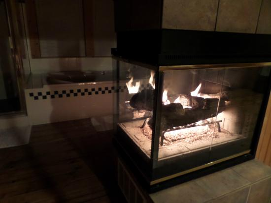 West Union, OH: The Three Sisters Cabin see-through fireplace