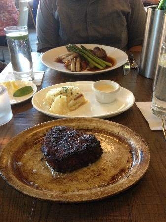 Tasting Room: Well done steak, potatoes with dipping sauce, rack of lamb