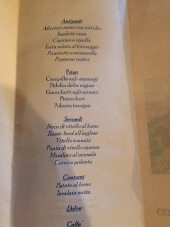 Crandola Valsassina, Italia: Menu' di ferragosto
