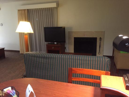 Sonesta ES Suites South Brunswick - Princeton: Room #1123 Suite room with queen bed, fire place and a kitchen