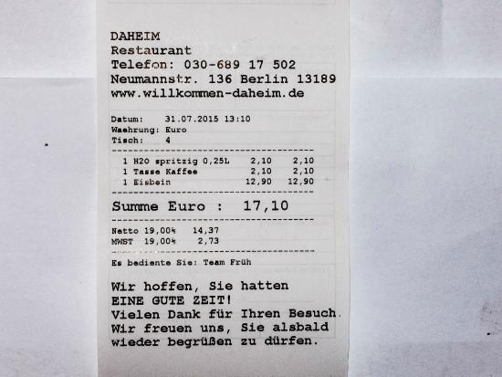 eisbein rechnung bild von restaurant daheim berlin. Black Bedroom Furniture Sets. Home Design Ideas