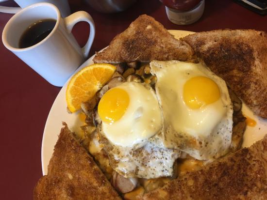 Dragonfly Cafe: The Breakfast bake: sausage & cheese homefries underneath!