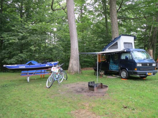 North Beach Campground: Our van and gear