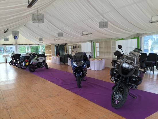 Conde-Northen, Frankrike: Bike parking in the wedding marquee.