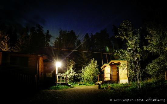 HI Athabasca Falls Wilderness Hostel : Sleeping Cabins at Night